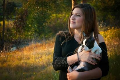 pretty woman sunset light puppy